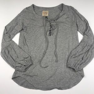 Chaser Grey Lace Up Bishop  Boho Top Blouse NWT
